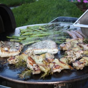 Grilled Halibut & Asparagus on the EVO