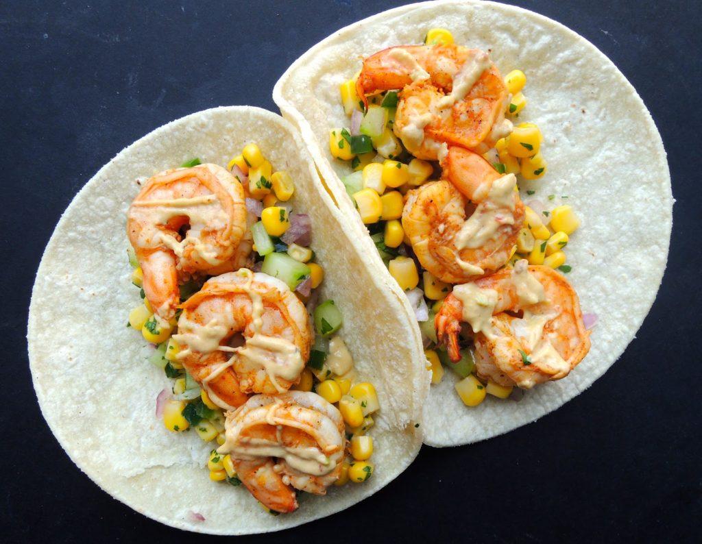 shrimp tacos on the evo