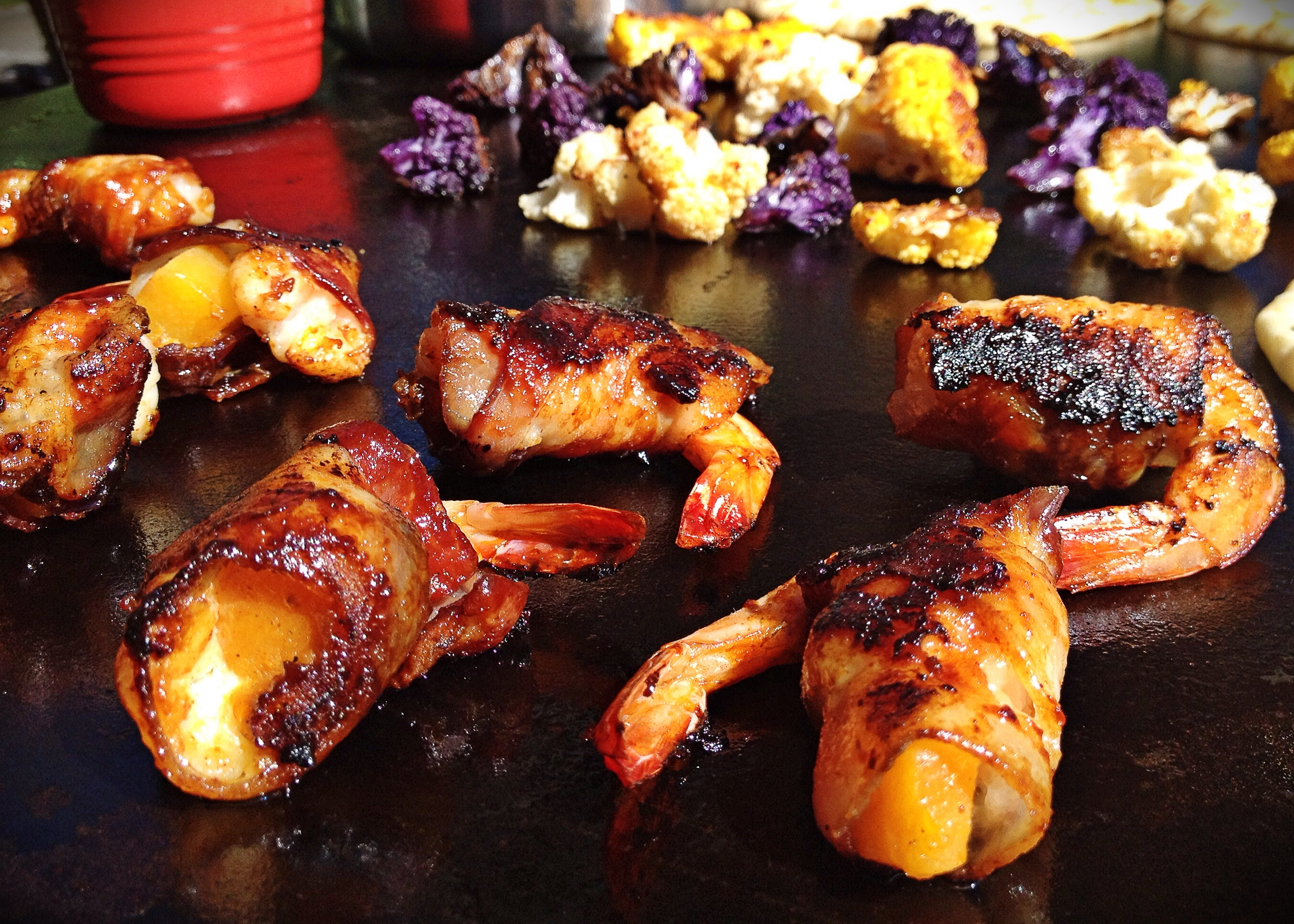 bbq shrimp stuffed with butternut squash on evo grill