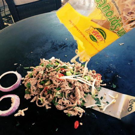 thai warm salad on evo grill